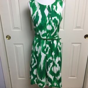 Ellen Tracy, green & white dress w/ belt, size 12
